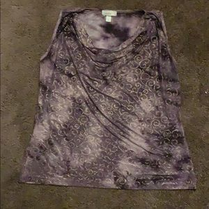 Dress Barn 1X purple and gold tank top USED